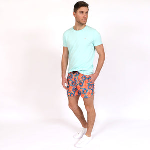 Original Weekend men's Sunflower floral print recycled polyester swim short with elastic waist styled with OWTS1903 Seafoam Green men's organic cotton t-shirt