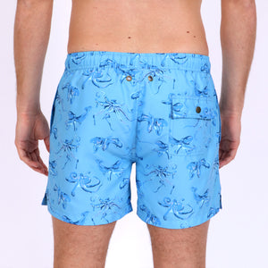 Original Weekend men's Blue Octopus print recycled polyester swim short with elastic waist on body back view