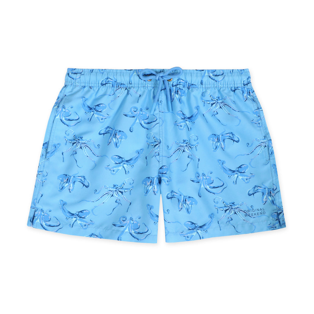 Original Weekend men's Blue Octopus print recycled polyester swim short with elastic waist