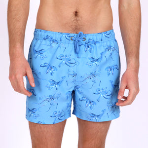 Original Weekend men's Blue Octopus print recycled polyester swim short with elastic waist on body front view