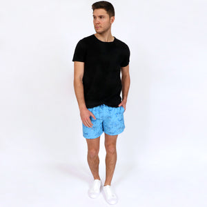 Original Weekend men's Blue Octopus print recycled polyester swim short with elastic waist styled with OWTS1902 Black Organic Cotton Beach T-Shirt