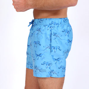 Original Weekend men's Blue Octopus print recycled polyester swim short with elastic waist on body side view