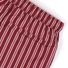 Load image into Gallery viewer, OWSS2001 Wine Classic Stripe Men's Recycled Polyester Swim Short Back Welt Zip Pocket Detail