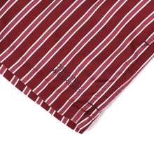 Load image into Gallery viewer, OWSS2001 Wine Classic Stripe Men's Recycled Polyester Swim Short Logo Print Detail
