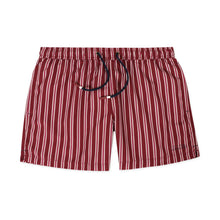 Load image into Gallery viewer, OWSS2001 Wine Classic Stripe Men's Recycled Polyester Swim Short