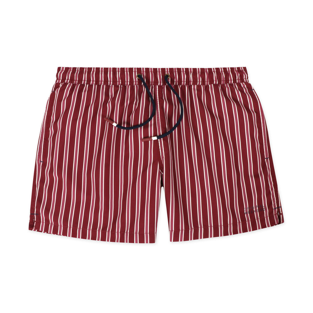 OWSS2001 Wine Classic Stripe Men's Recycled Polyester Swim Short
