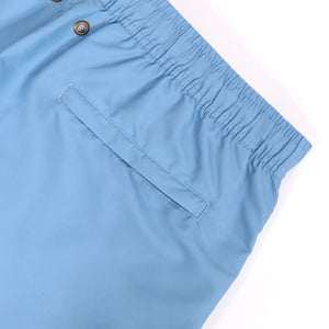 OWSS2002 Chambray Blue Solid Colour Men's Recycled Polyester Swim Short Back Welt Zip Pocket Detail