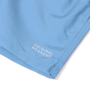 OWSS2002 Chambray Blue Solid Colour Men's Recycled Polyester Swim Short Logo Print Detail