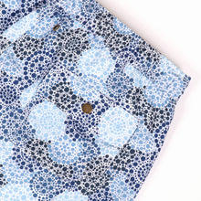 Load image into Gallery viewer, OWSS2003 Denim Blue Spot Print Men's Recycled Polyester Swim Short Back Pocket Detail