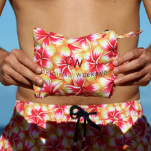 Load image into Gallery viewer, OWSS2004 Gold Frangipani Floral Print Men's Recycled Polyester Swim Short Packable Style