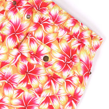 Load image into Gallery viewer, OWSS2004 Gold Frangipani Floral Print Men's Recycled Polyester Swim Short Back Stud Pocket Detail