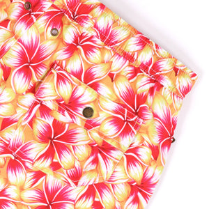 OWSS2004 Gold Frangipani Floral Print Men's Recycled Polyester Swim Short Back Stud Pocket Detail
