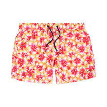 Load image into Gallery viewer, OWSS2004 Gold Frangipani Floral Print Men's Recycled Polyester Swim Short