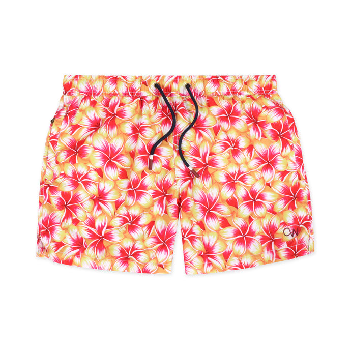 OWSS2004 Gold Frangipani Floral Print Men's Recycled Polyester Swim Short