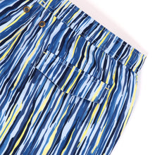 Load image into Gallery viewer, OWSS2007 Blue Painterly Stripe Men's Recycled Polyester Swim Short  Back Pocket detail