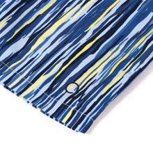 Load image into Gallery viewer, OWSS2007 Blue Painterly Stripe Men's Recycled Polyester Swim Short Logo Stamp Print Detail