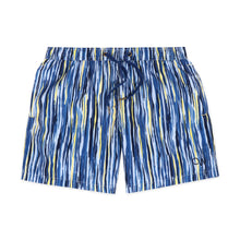 Load image into Gallery viewer, OWSS2007 Blue Painterly Stripe Men's Recycled Polyester Swim Short
