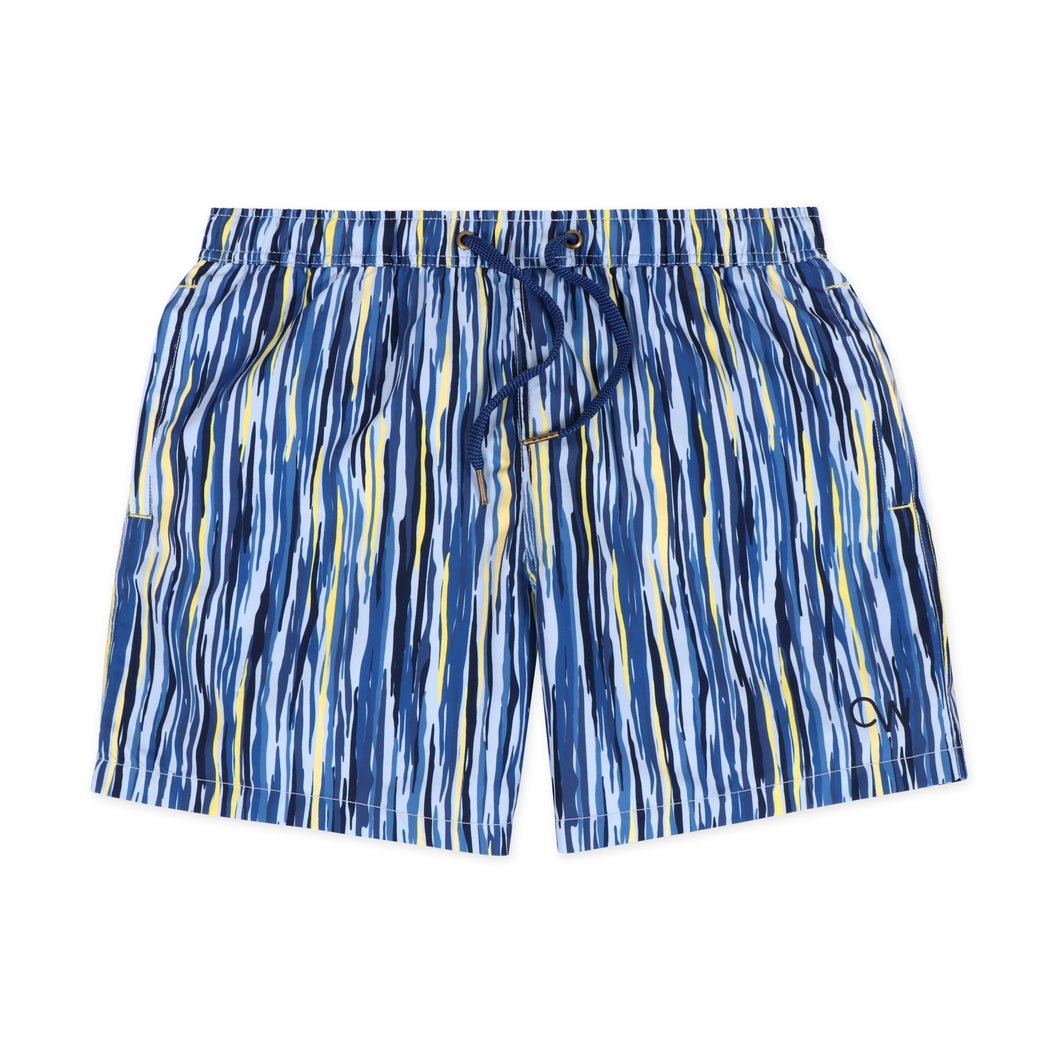 OWSS2007 Blue Painterly Stripe Men's Recycled Polyester Swim Short