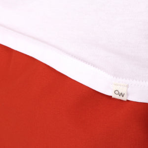 OWTS1801 White men's organic cotton t-shirt OW logo pip detail at hem