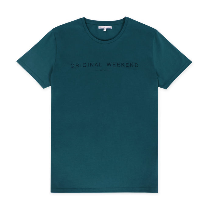 OWTS1802 Atlantic Green men's organic cotton t-shirt with logo print