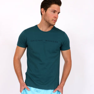 OWTS1802 Atlantic Green men's organic cotton t-shirt with logo print on body front view