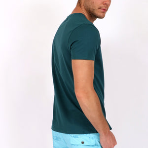 OWTS1802 Atlantic Green men's organic cotton t-shirt with logo print on body side view
