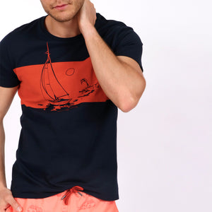 OWTS1803 Navy Somewhere Tropical Sail Boat Print men's organic cotton t-shirt on body front view styled