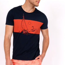 Load image into Gallery viewer, OWTS1803 Navy Somewhere Tropical Sail Boat Print men's organic cotton t-shirt in body front view