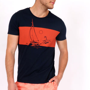 OWTS1803 Navy Somewhere Tropical Sail Boat Print men's organic cotton t-shirt in body front view