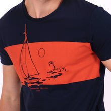Load image into Gallery viewer, OWTS1803 Navy Somewhere Tropical Sail Boat Print men's organic cotton t-shirt print detail
