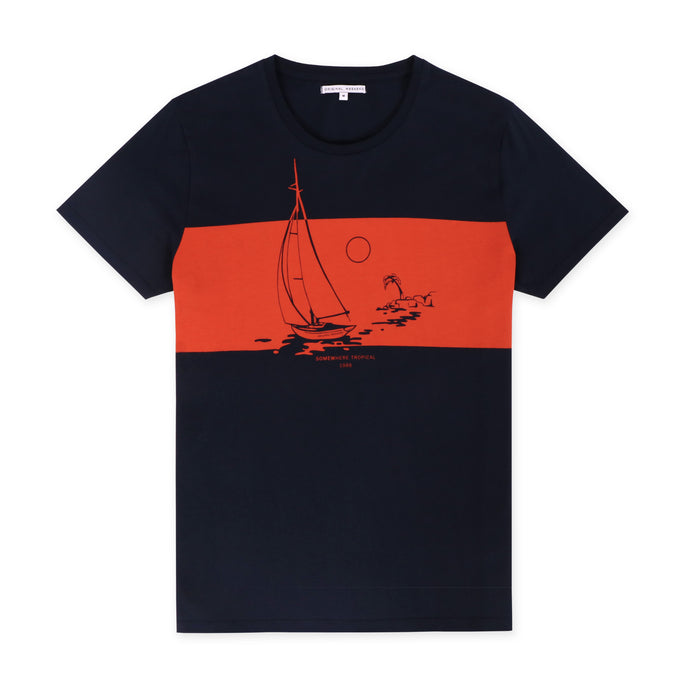 OWTS1803 Navy Somewhere Tropical Sail Boat Print men's organic cotton t-shirt