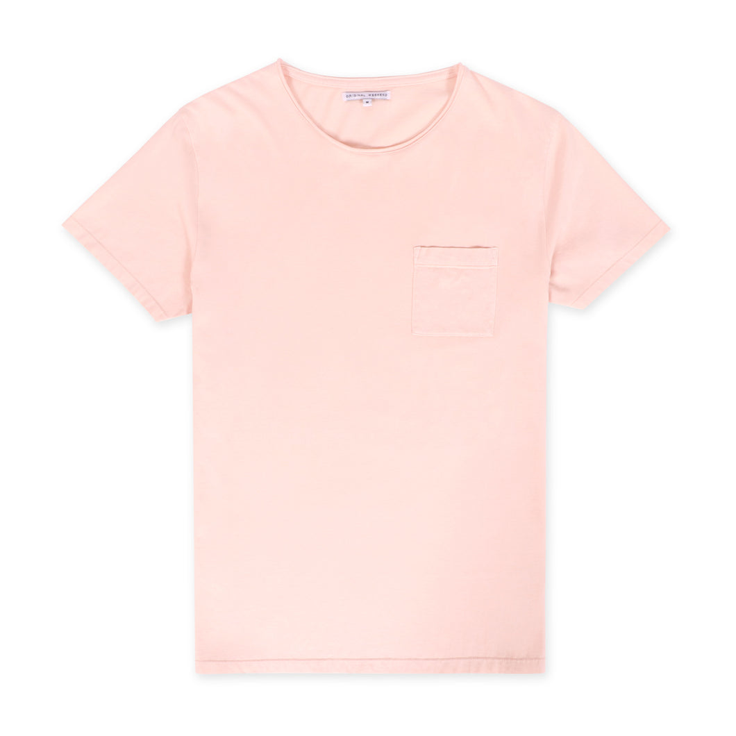 OWTS1804 Washed Coral pink garment dyed beach fit men's organic cotton t-shirt with chest pocket detail