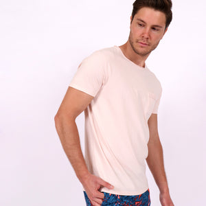 OWTS1804 Washed Coral pink garment dyed beach fit men's organic cotton t-shirt with chest pocket detail on body side view