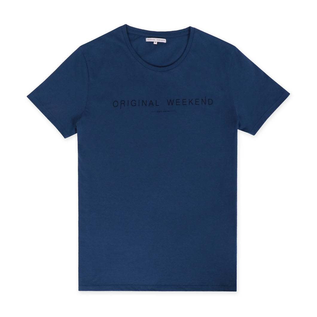OWTS1901 Denim Blue Original Weekend men's Organic cotton logo print t-shirt flat lay