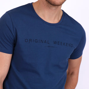 OWTS1901 Denim Blue Original Weekend men's Organic cotton logo print t-shirt front logo print detail