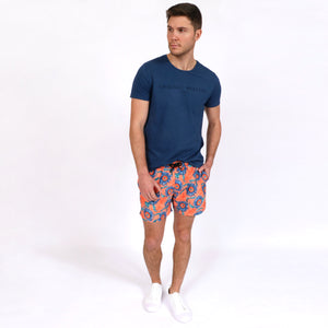 OWTS1901 Denim Blue Original Weekend men's Organic cotton logo print t-shirt styled with OWSS1901 Orange Suflower Print swim short with elastic waist and recycled polyester fabrication