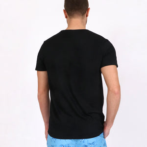 OWTS1902 Black Original Weekend men's Beach fit Organic cotton t-shirt on body back view