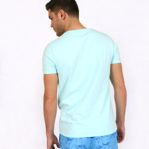 OWTS1903 Seafoam Green Original Weekend men's Organic cotton t-shirt on body back view
