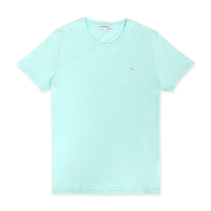 OWTS1903 Seafoam Green Original Weekend men's Organic cotton t-shirt flat lay
