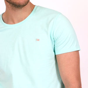 OWTS1903 Seafoam Green Original Weekend men's Organic cotton t-shirt OW embroidery detail