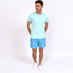 OWTS1903 Seafoam Green Original Weekend men's Organic cotton t-shirt styled with OWSS1902 Blue Octopus swim short with elastic waist fabricated with recycled polyester