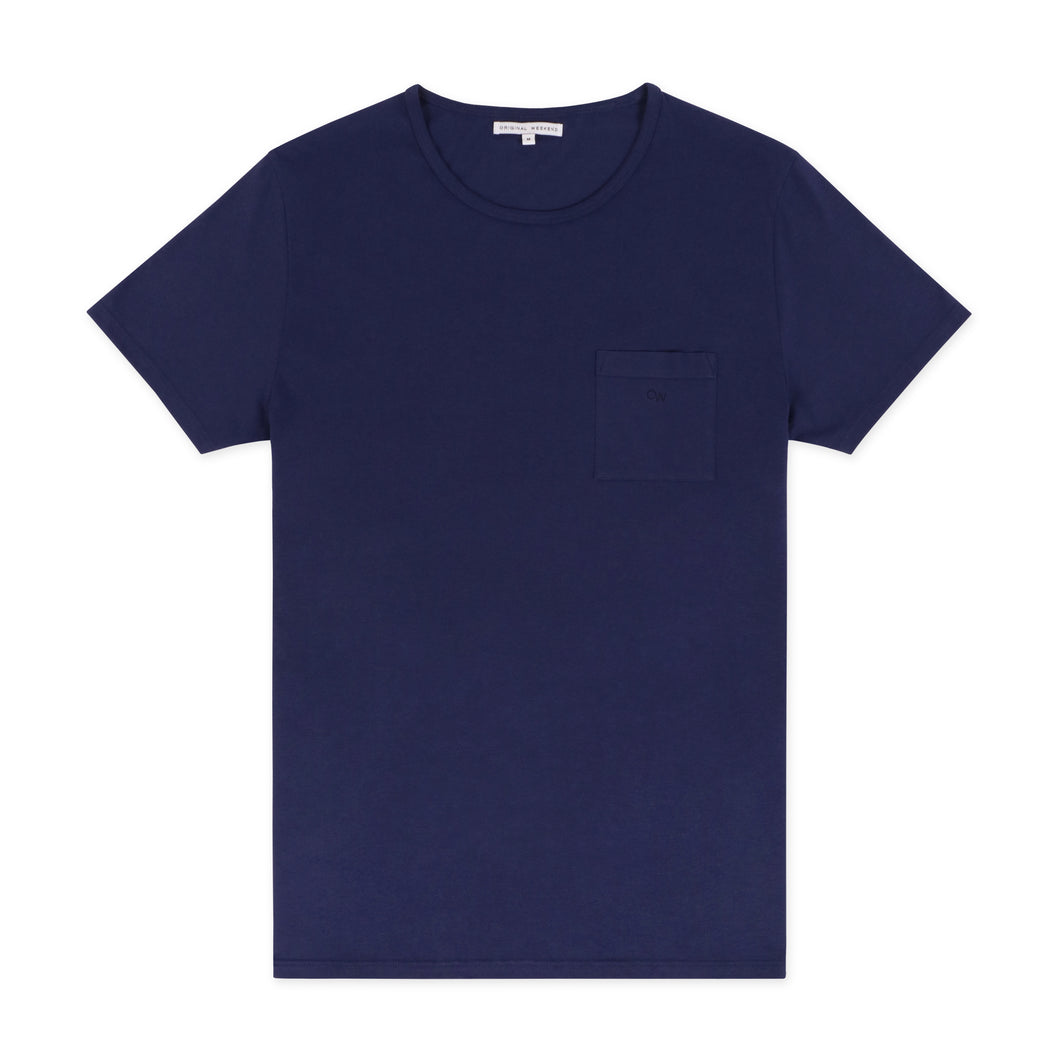 OWTS2001 Midnight Blue GOTS Certified Organic Cotton Men's Beach T-Shirt with Chest Pocket