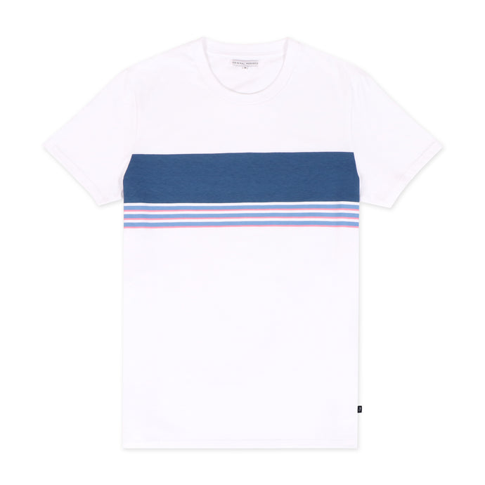 OWTS2003 White Blue Summer Stripe Print GOTS Certified Organic Cotton Men's T-Shirt