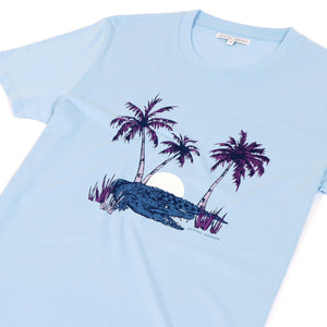 OWTS2005 Sky Blue Retro Crocodile Print GOTS Certified Organic Cotton Men's T-Shirt