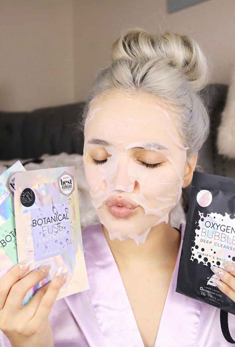 The Lavender Sheet Mask from sfglow, applied on skin