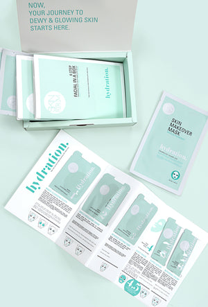 The steps of Hydration Facial, part of the 6 Step Facial Kit from sfglow