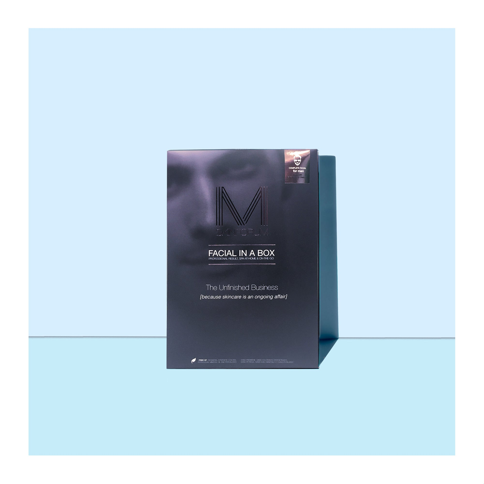 A pack of Men Facial in a Box, part of the 6 Step Facial Kits, only from sfglow