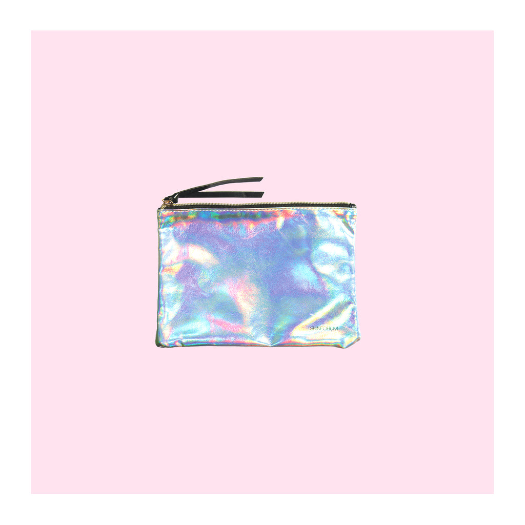 Front view of the Holo Makeup Travel Pouch from sfglow