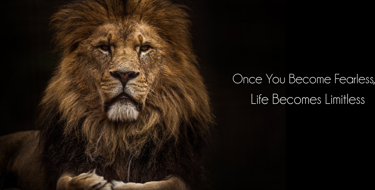 Become Fearless Inspirational Canvas Lion Art Home Office