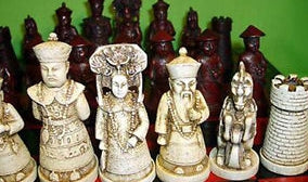 Chinese Old Collectibles Vintage Chess Set With Wooden Coffee Table